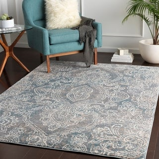 "Lou Denim Transitional Damask Area Rug - 7'10"" x 10'3"""