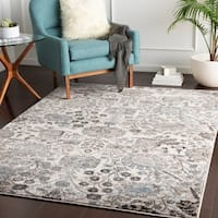 "Tessie Denim Transitional Floral Area Rug - 7'10"" x 10'3"""