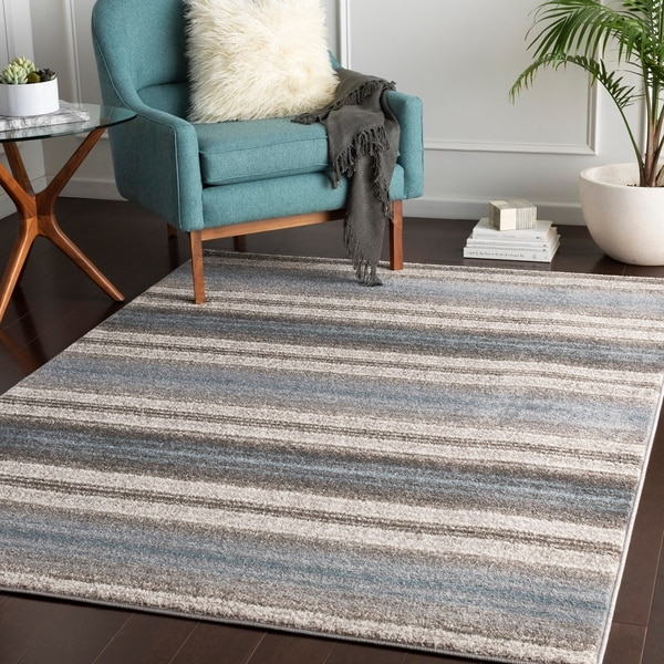 "Parsifal Blue Casual Stripes Area Rug - 7'10"" x 10'3"""