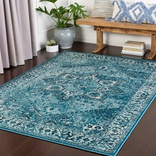 "Farhana Aqua Traditional Area Rug - 3'11"" x 5'7"""