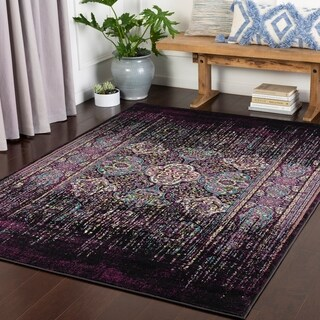 "Thamina Purple Psychedelic Kazak Area Rug - 3'11"" x 5'7"""