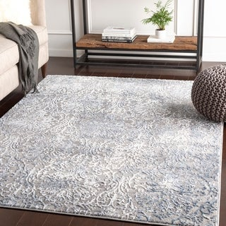 "Hermia Navy & Grey Damask Area Rug - 7'10"" x 10'3"""
