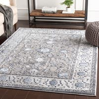 "Safira Blue & Grey Traditional Area Rug - 7'10"" x 10'3"""