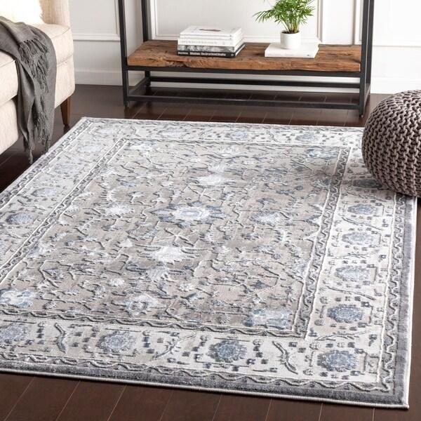 "Safira Blue & Grey Traditional Area Rug - 7'10"" x 10'3"""