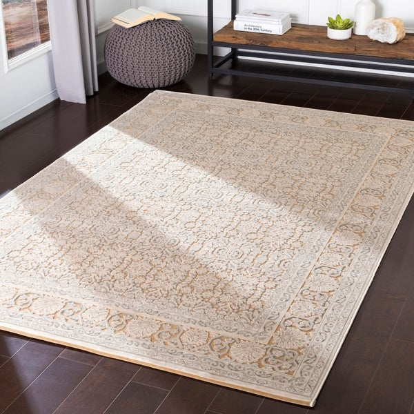 Emaline Khaki Chenille Traditional Accent Rug - 2' x 3'