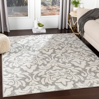 Matthei Grey Transitional Damask Accent Rug - 2' x 3'
