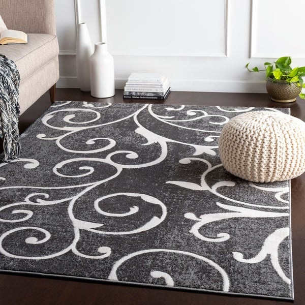 Rashed Grey Transitional Scroll Accent Rug - 2' x 3'