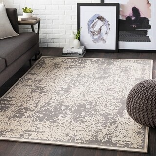 Emet Grey Chenille Vintage Accent Rug - 2' x 3'