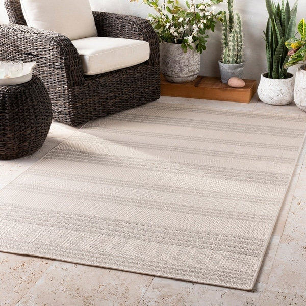 Aloise Ivory Striped Indoor / Outdoor Accent Rug - 2' x 3'
