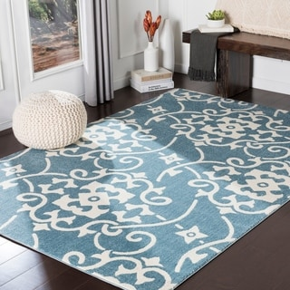 "Dorothea Blue Transitional Scroll Area Rug - 9'3"" x 12'6"""