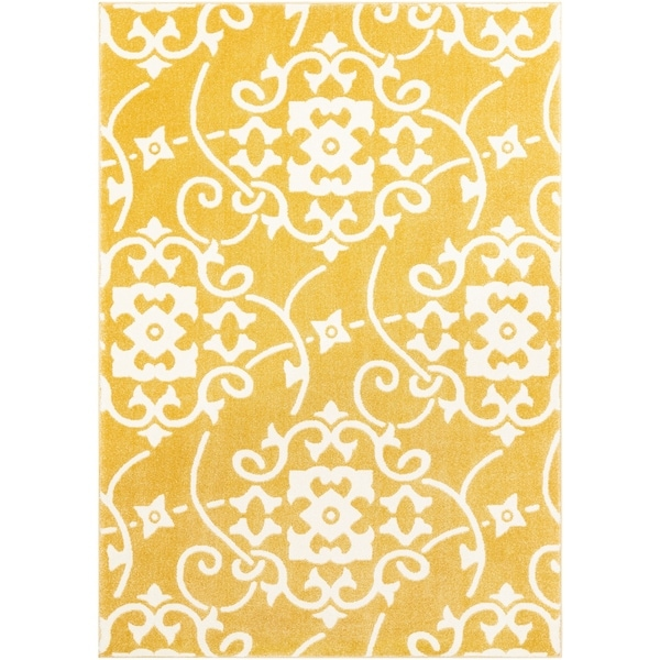 "Dorothea Yellow Transitional Scroll Area Rug - 9'3"" x 12'6"""