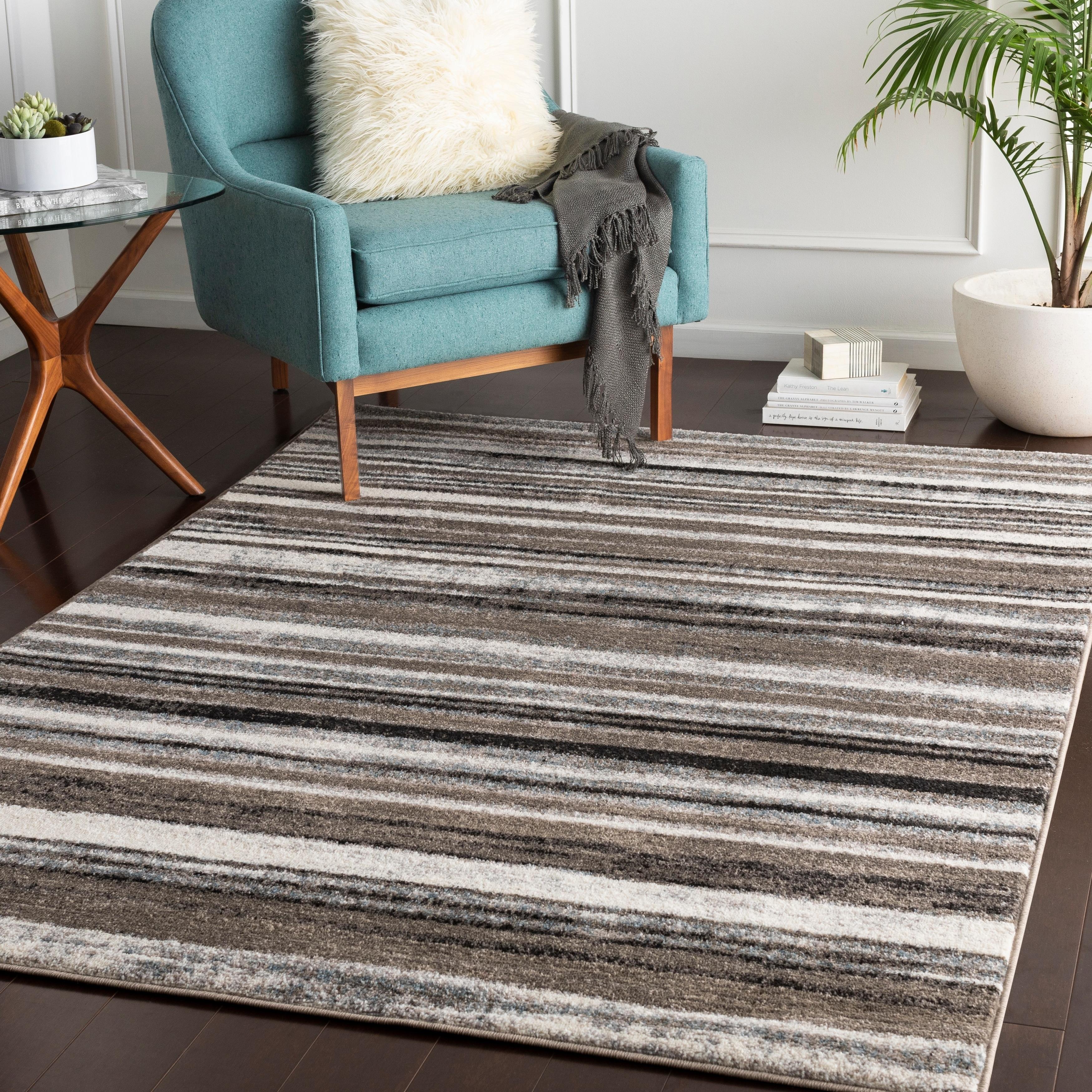 Elpidio Grey Modern Stripes Accent Rug