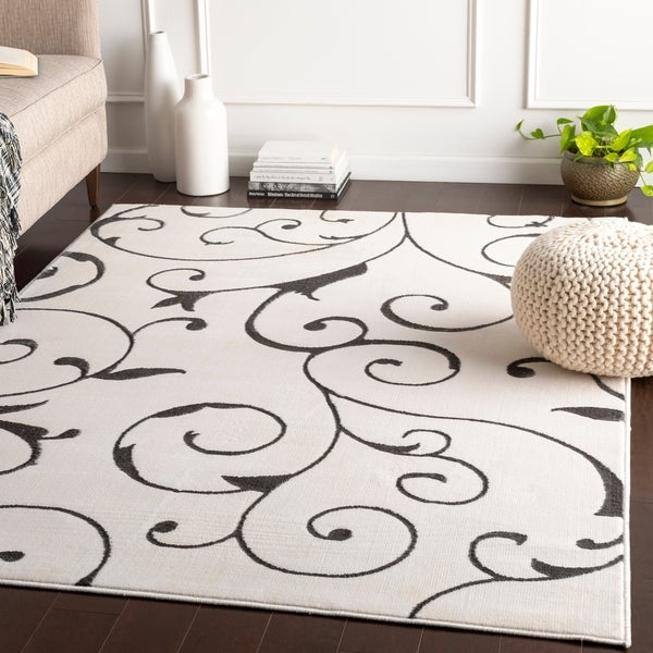 Rashed White Transitional Scroll Accent Rug - 2' x 3'