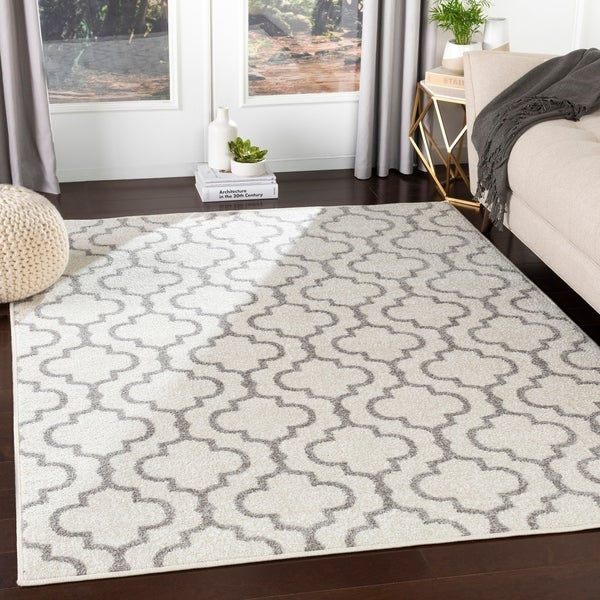 Shop Kastor White Amp Grey Bold Trellis Accent Rug 2 X 3