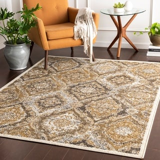 Lucilla Tan Patchwork Medallion Accent Rug - 2' x 3'