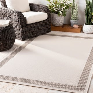 Shaffer Ivory Bordered Indoor / Outdoor Accent Rug - 2' x 3'