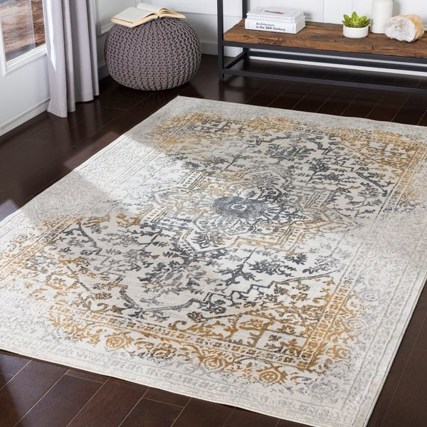 Keitha Yellow & Grey Medallion Accent Rug - 2' x 3'