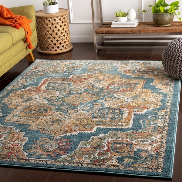 Fritz Blue Vibrant Traditional Accent Rug - 2' x 3'