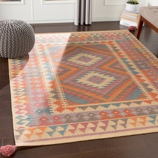 Henrikas Orange Boho Handmade Wool Accent Rug - 2' x 3'
