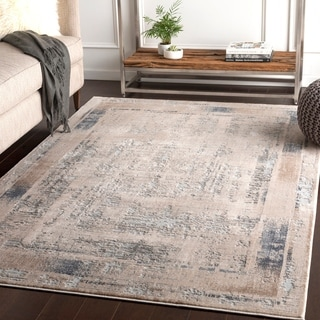 "Marjan Ivory Distressed Border Area Rug - 9'3"" x 12'3"""