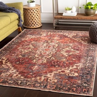 Gwenevere Rust Vintage Medallion Accent Rug - 2' x 3'
