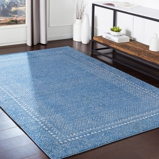 """The Curated Nomad Tiffany Blue Bohemian Border Area Rug - 3'11"""" x 5'7"""""""