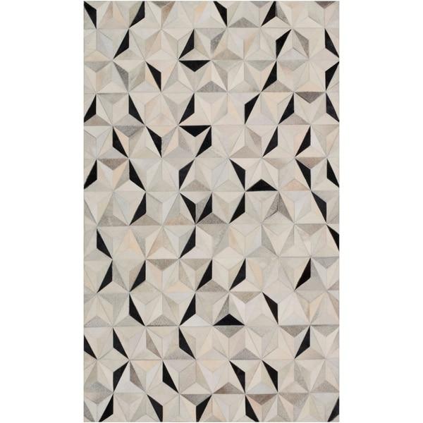 Handmade Evan Animal Pattern Leather Area Rug - 6' x 9'