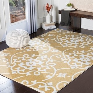 "Dorothea Yellow Transitional Scroll Area Rug - 3'3"" x 5'"