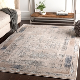 "Marjan Ivory Distressed Border Area Rug - 7'10"" x 10'3"""