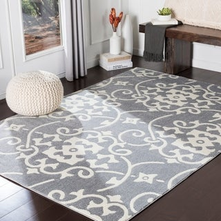"Dorothea Grey Transitional Scroll Area Rug - 7'10"" x 10'3"""