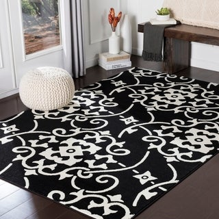 "Dorothea Black Transitional Scroll Area Rug - 7'10"" x 10'3"""