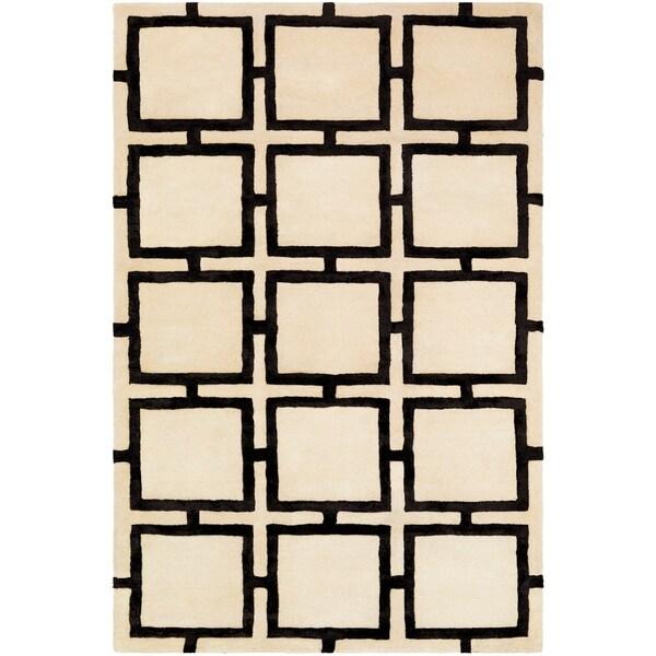 "Naiara Cream Modern Wool & Viscose Area Rug - 5' x 7'6"""