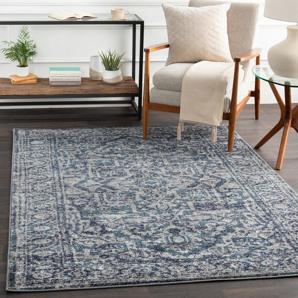 "Abbas Navy & Gray Vintage Traditional Area Rug - 6'7"" x 9'"