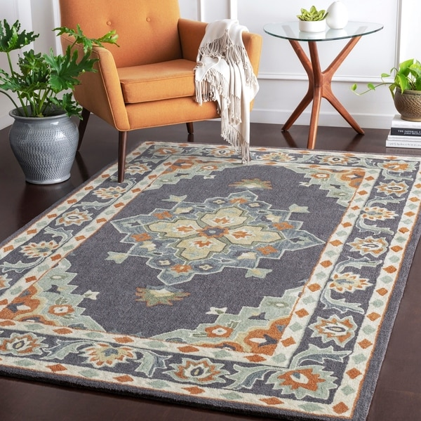 Maisey Grey & Green Updated Traditional Area Rug - 5' x 8'