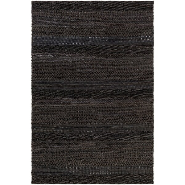 Hand-Woven Perthios Leather Accent Rug - 2' x 3'