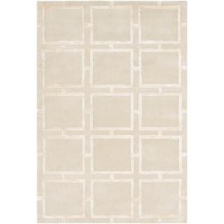 "Naiara Khaki Modern Wool & Viscose Area Rug - 5' x 7'6"""