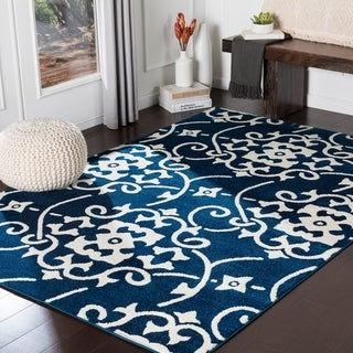 "Porch & Den Ivybridge Navy Transitional Scroll Area Rug - 9'3"" x 12'6"""