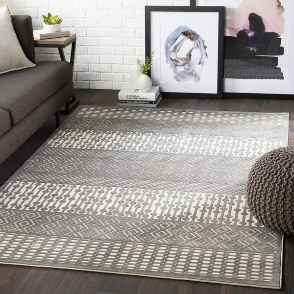 "Willie Charcoal Boho Chenille Area Rug - 5'2"" x 7'3"""