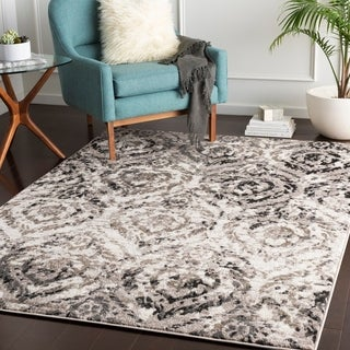 "Klara Grey Transitional Damask Area Rug - 5'3"" x 7'3"""