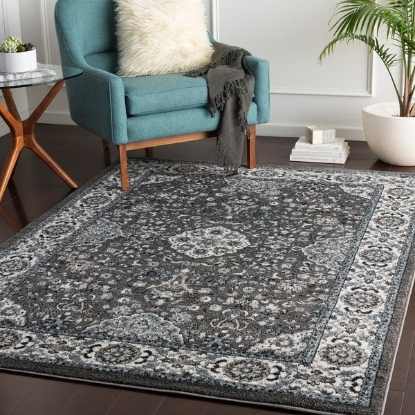 "Percival Blue & Grey Traditional Area Rug - 5'3"" x 7'3"""