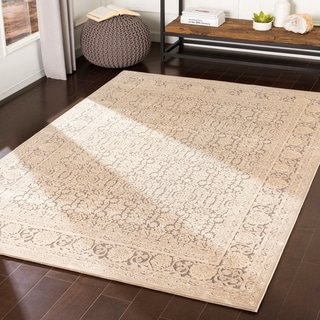 "Emaline Grey Chenille Traditional Area Rug - 6'7"" x 9'6"""