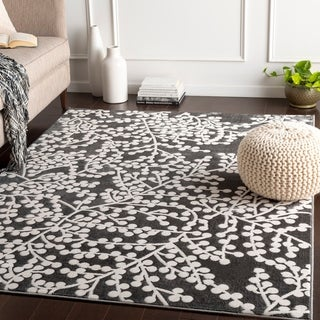 "Arieh Grey & White Branches Area Rug - 5'3"" x 7'3"""