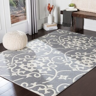 "Porch & Den Ivybridge Grey Transitional Scroll Area Rug - 3'3"" x 5'"
