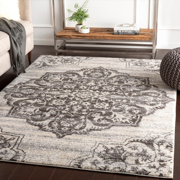 "Faron Grey Large Medallion Plush Area Rug - 5'3"" x 7'6"""