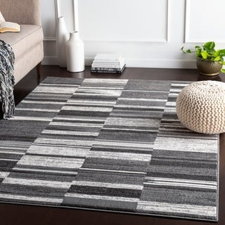 "Delora Grey Contemporary Stripes Area Rug - 5'3"" x 7'3"""