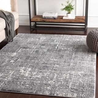 "Shonda Grey Traditional Oriental Area Rug - 6'7"" x 9'6"""