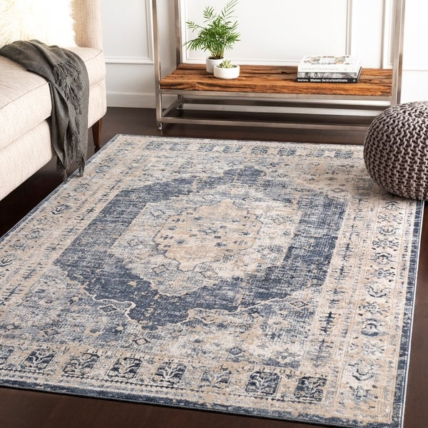 "Jouko Taupe Traditional Area Rug - 6'7"" x 9'6"""