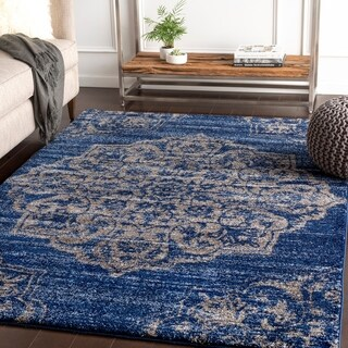 "Faron Navy Large Medallion Plush Area Rug - 5'3"" x 7'6"""