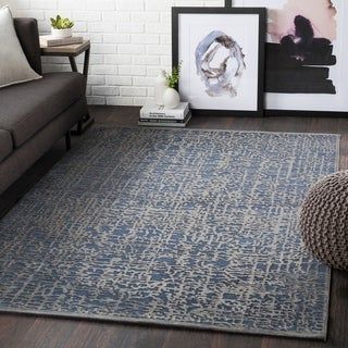 "Errol Navy Transitional Abstract Area Rug - 6'7"" x 9'6"""