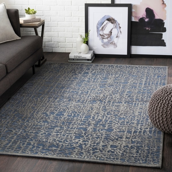 Shop Errol Navy Transitional Abstract Area Rug 6 7 Quot X 9